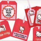 Set of 6 Red Hello Kitty Friendship Gift or Hang Tags