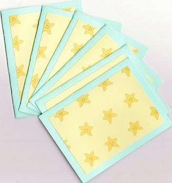Set of 6 Happy Smiley Stars Note Cards