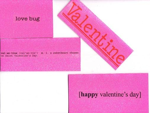 Set of 4 Glitter Valentines Day Cards