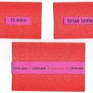 Set of 3 Dimensional Pink and Red Glitter Cardstock Valentines Day Cards