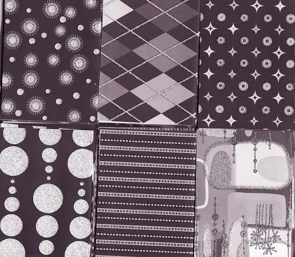 Set of 36 Glitter Black and Silver Splender Note Cards