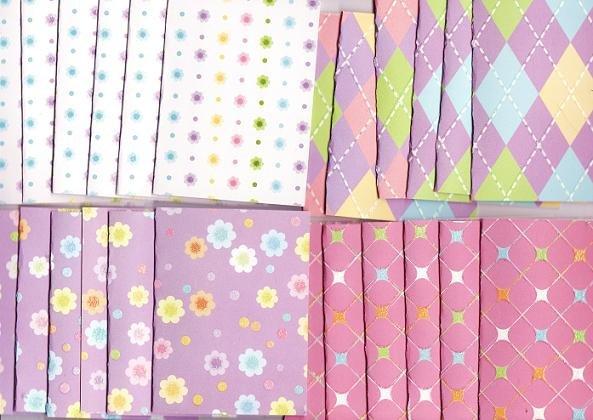 Set of 24 Preppy Pastel Flower Note Cards