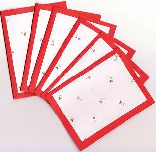 Set of 6 Heart Rose Valentines Day  Note Cards