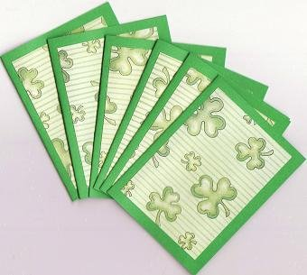 Set of 6 Green Stripes and Shamrocks Saint Patricks Day Note Cards