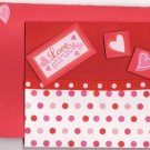 Pink and Red Love Struck Dimensional Glitter Heart Card with Matching Envelope