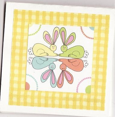 Set of 5 Pastel Circle of Bunnies Easter Note Cards with Envelopes