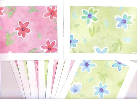 """Set of 10 """"Watercolor Flower Painting"""" Pastel Green and Pink Cards with Envelopes"""