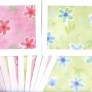 "Set of 10 ""Watercolor Flower Painting"" Pastel Green and Pink Cards with Envelopes"