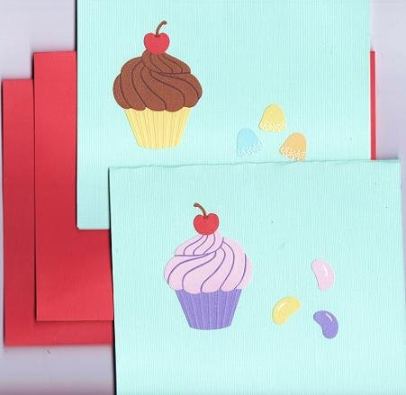 Set of 2 Cupcakes and Candy Cards with Matching Envelopes
