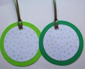 Set of 12 Saint Patricks Day Light and Dark Green Falling Shamrock Clover Gift or Hang Tags