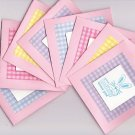 "Set of 8 Dimensional ""Some Bunny Loves You"" Pastel Gingham Easter Note Cards"