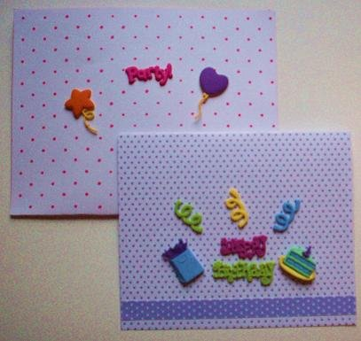 Dimensional Purple Polka Dot Birthday Card with 10 Buttons and Matching Pouch Envelope