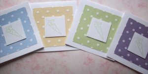 Set of 12 Dimensional Pastel Polka Dot Petite Carrot Easter Cards with Envelopes