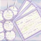 Purple Unisex Baby Gift Set; 3 cards with Envelopes, 7 Gift or Hang Tags