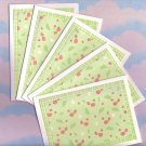 Set of 5 Falling Cherries Glittered Cards with Envelopes