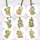 Set of 9 Saint Patricks Day Teddy Bear Gift or Hang Tags