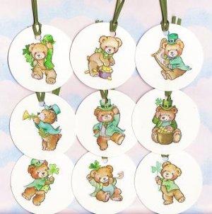 Set of 9 Saint Patricks Day Teddy Bear Gift or Hang Tags