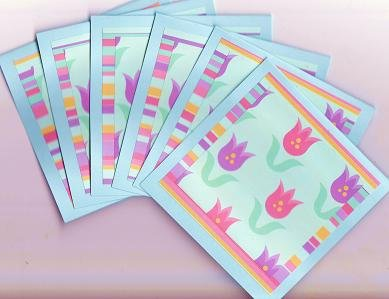 Set of 6  Bright Stripes Tulip Garden Note Cards