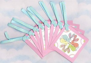 Set of 8 Square Circle of Bunnies Easter Gift or Hang Tags