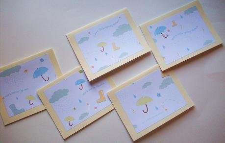 """Set of 5 """"Stuck Out In The Rain"""" and """"Just A Little Spring Shower"""" Cards with Envelopes"""