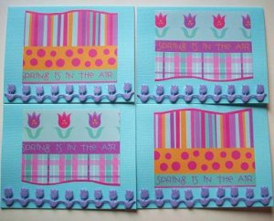 Set of 4 Spring Is In The Air Cards With Dimensional Row Of Felt Tulips with Envelopes