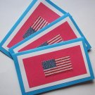 Set of 3 Textured Red White and Blue Beaded Flag Cards