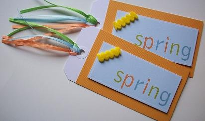 """Set of 2 Textured Dimensional """"Spring"""" Large Gift or Hang Tags"""
