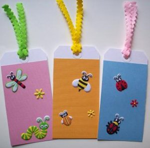 Set of 3 Cute Bugs Large Dimensional Textured Gift or Hang Tags