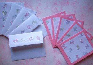 Set of 5 Textured Girls Baby Shoes Cards with Matching Envelopes