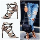ZARA HIGH HEEL SNAKE PRINT LEATHER LACE UP SANDAL ANKLE BOOT BNWT