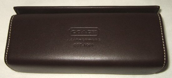 NEW AUTHENTIC COACH LEATHER LOGO SUNGLASSES GLASSES CASE DARK BROWN