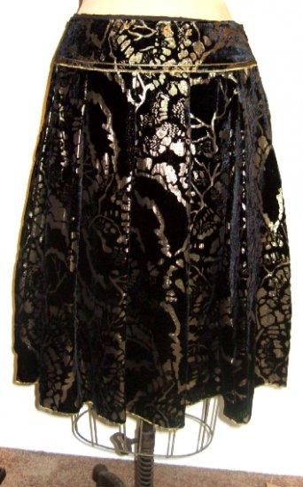 NWT CYNTHIA STEFFE SKIRT BLACK GOLD BURNOUT VELVET size 8