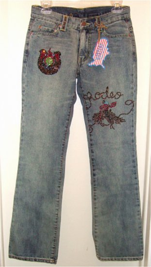 NWT WESTERN DENIM BANK RODEO EMBELLISHED JEANS with RHINESTONES BOOT CUT sz 26