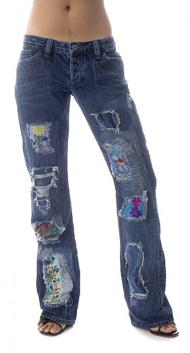NWT ANTIK DENIM WOODSTOCK FLOWER PATCH JEANS - 26 / 4 - retail $350