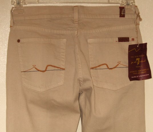 NWT SEVEN FOR ALL MANKIND JEANS BOOTCUT STRETCH TAN 27