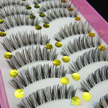 10 Pair of eyelashes. Long beautifully crossed lashes