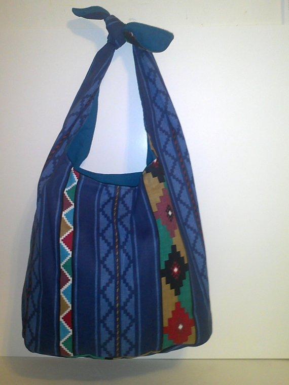 Aztec Blue Print Tie Handbag