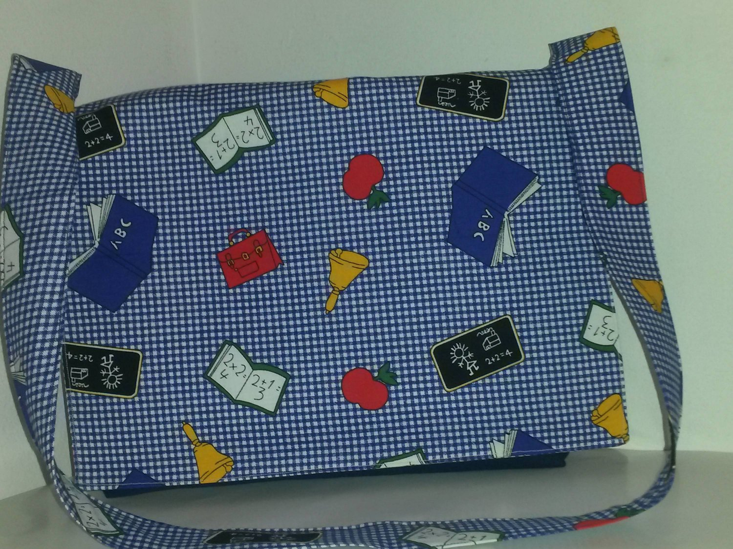 ABC, Blue Gingham, Go To School Cotton Tote Bag