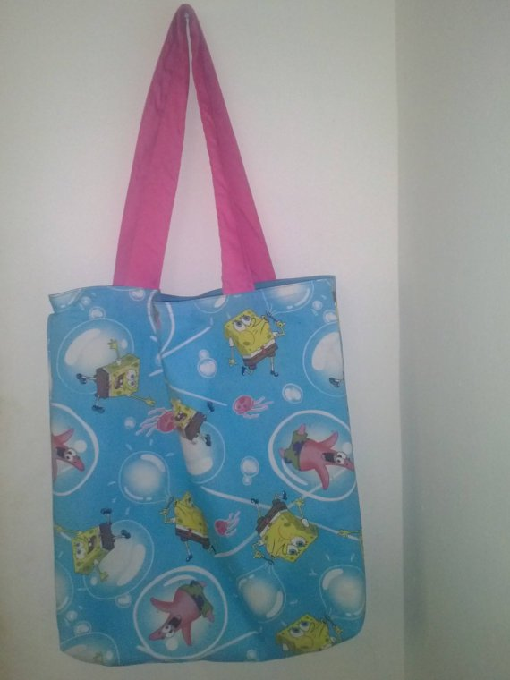 Large Spongebob and Friends Cotton Tote Bag