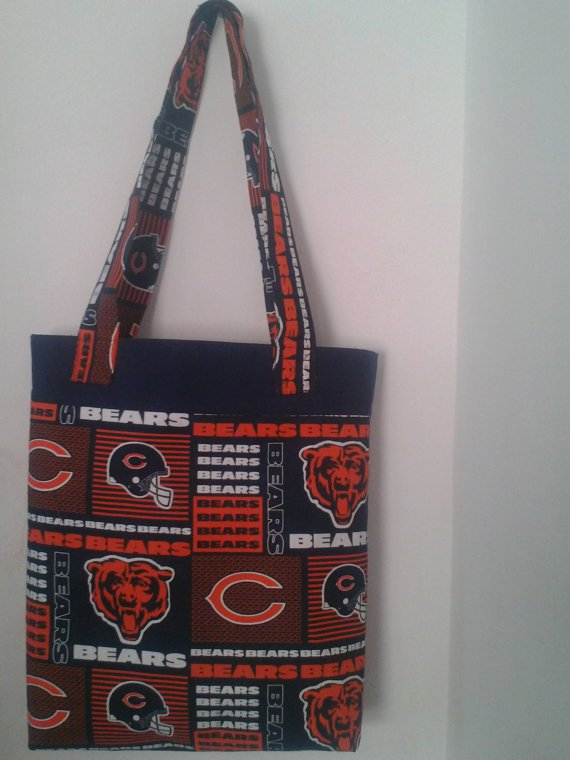 Chicago Bears Orange and Blue Inspired Tote