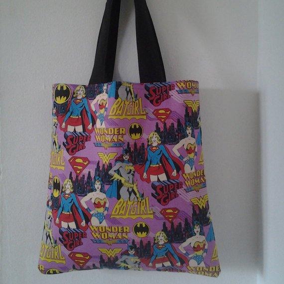 Girl Power, Wonder Woman, Bat Girl, Super Girl Handmade Reversible Tote