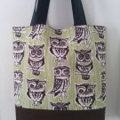 Large Brown and Green Owl Handmade Tote