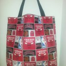 Chicago Bulls Red and Black Cotton Print Tote Bag