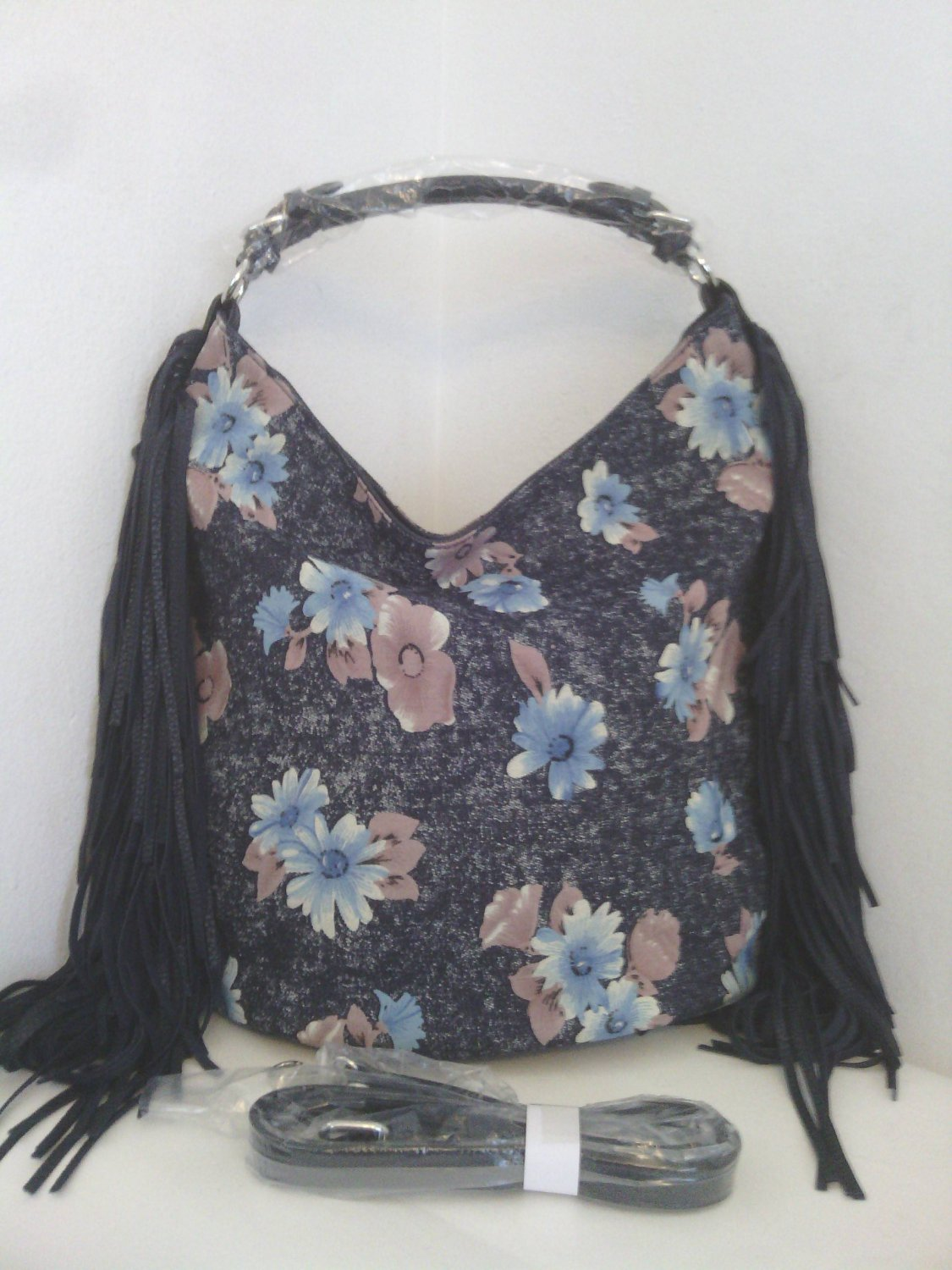 Fringed Floral Denim Hobo