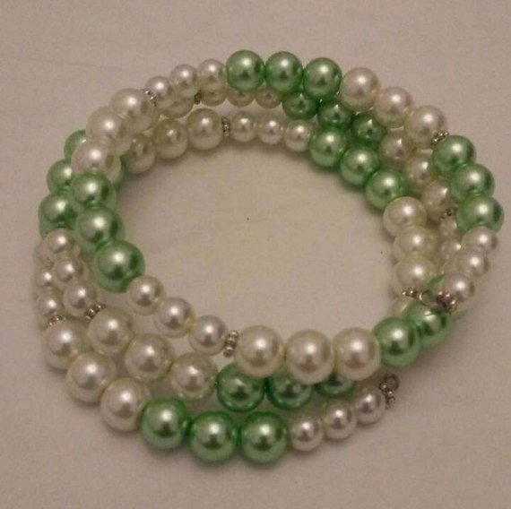 Mint Green and White Pearls Memory Wire, Wrap Around Bracelet