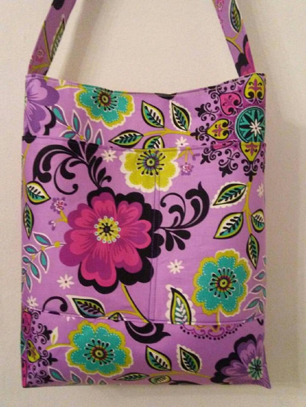 Purple & Green Molly Dinkin Floral Shoulder Bag, Hobo Bag