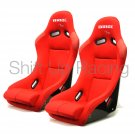 PAIR of Bride Vios 3 III in Red JDM Bucket Racking Seats FRP