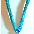 Shimmering Metallic BroadwayYarn-Knitted Necklace w/pendant