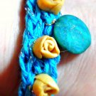 Turquoise Blue Broadway Yarn Knitted Bracelet w/Artisan Created Clay Beads