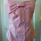 ETC WOMENS WHITE RED STRIPE COTTON SLEEVELESS CASUAL SHIRT BLOUSE TOP SIZE 6 NEW